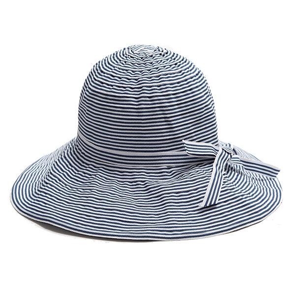 Femmes Été Stripe Wide Brim Bucket Hat Casual Foldable Anti-UV Visor Beach Hat