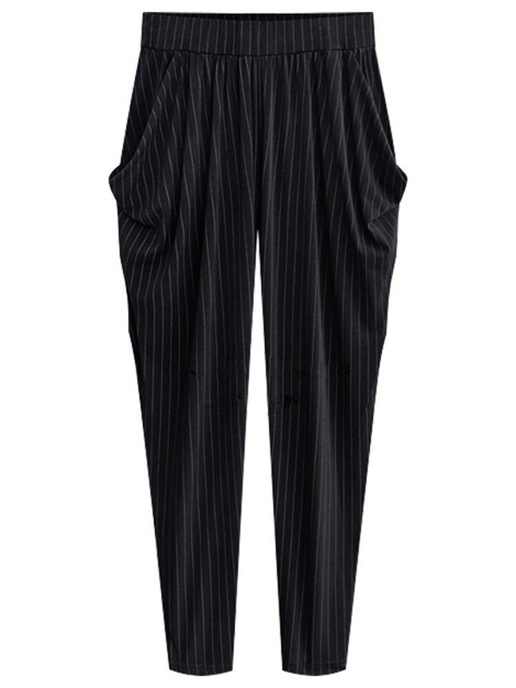 bdcccf31a4d4 Plus Size Casual Women Side Pockets Stripe Harem Pants - Black 3XL COD