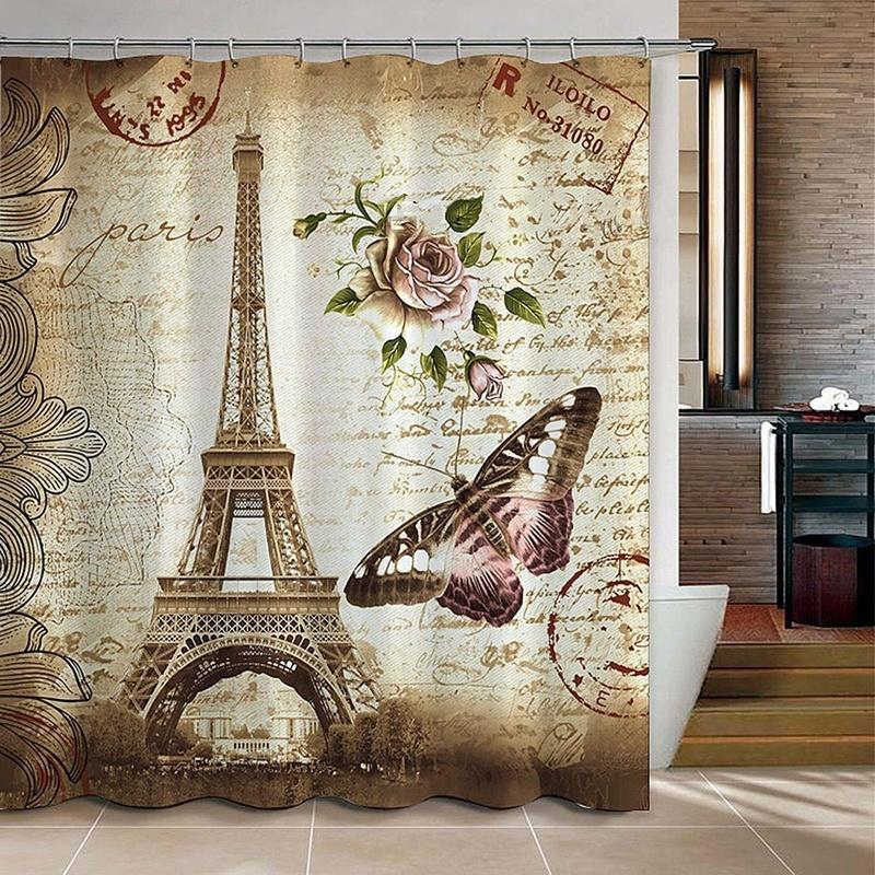 180x200cm Paris Bathroom Shower Curtains Eiffel Tower Waterproof Fabric Hooks COD