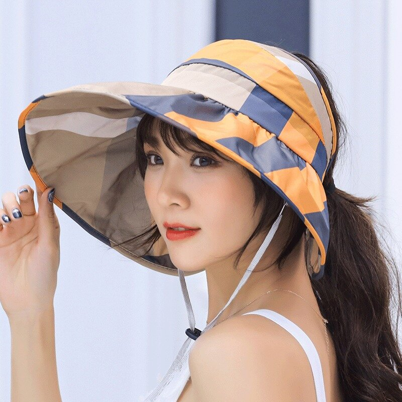 a3b5c14330a2e Women Summer UV Protection Sun Hat Sunscreen Large Brim Collapsible Empty  Top Hat COD