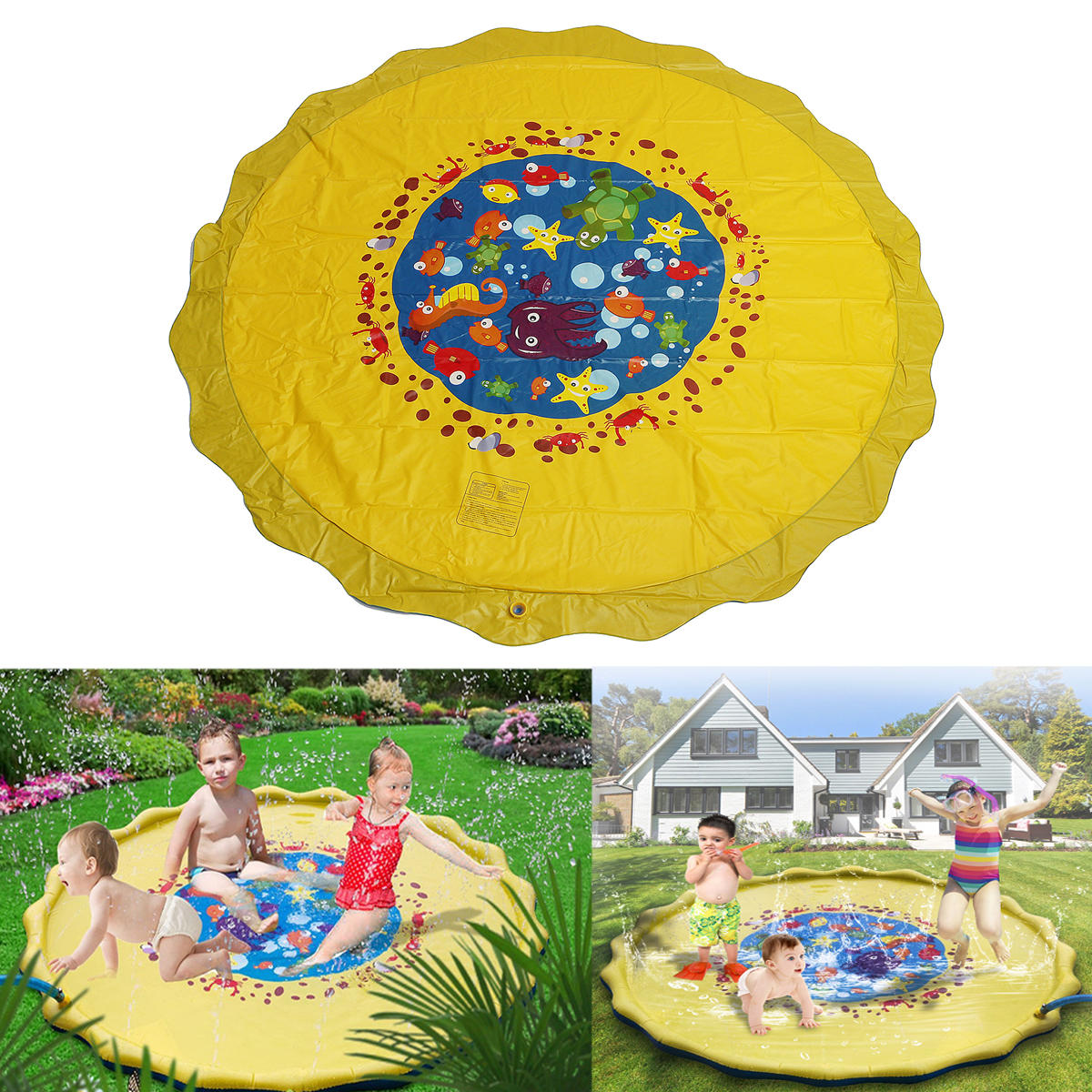 170cm Outdoor Inflatable Sprinkle Splash Mat Toddler Baby Kid Garden Water Spray Toys Play Pool Cod