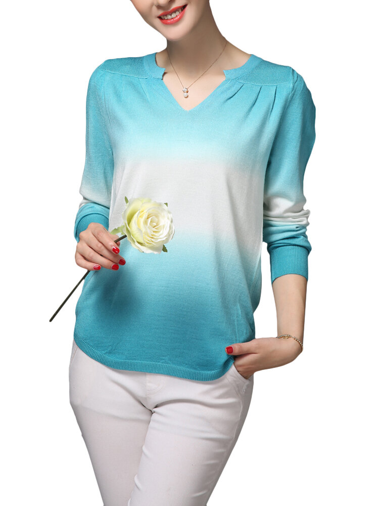 Casual Women Gradient V-Neck Long Sleeve Knit T-Shirt