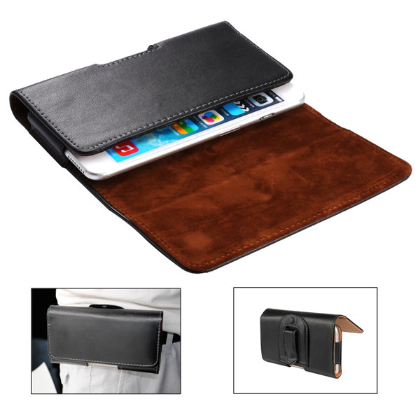 Universal Clip-on Magnetic Flip Cover Waist Bag PU Leather Phone Wallet for Phone Under 6-inch