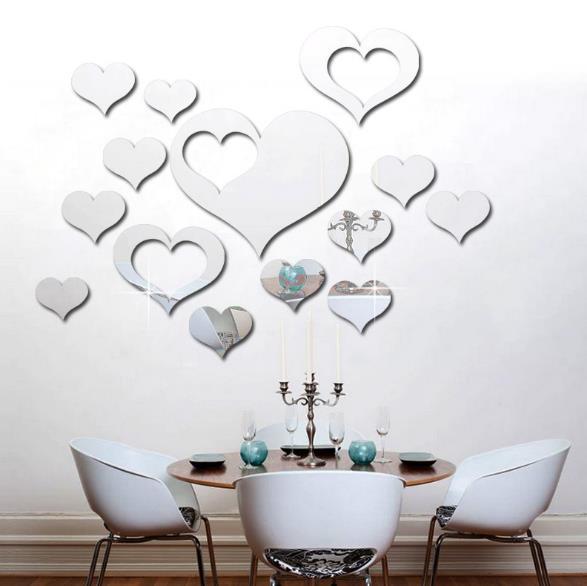 3D Kalp Gümüş DIY Şekli Ayna Duvar Çıkartmaları Ana Sayfa Duvar Yatak Odası Arka Plan Ofis Dekoru