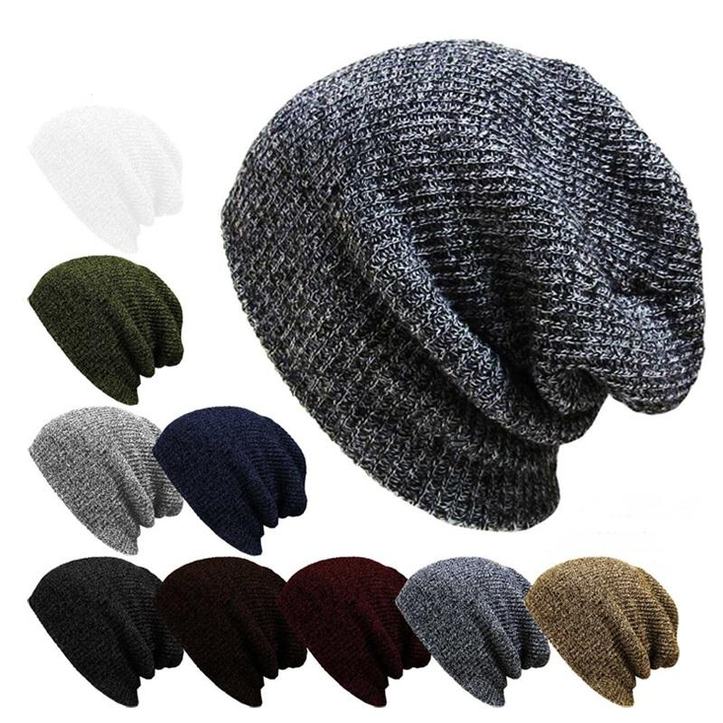 Unisex Men Women Stripe Knitted Slouch Beanie Hat Pure Color Elastic Winter  Warm Cap COD 85ebb5502cb