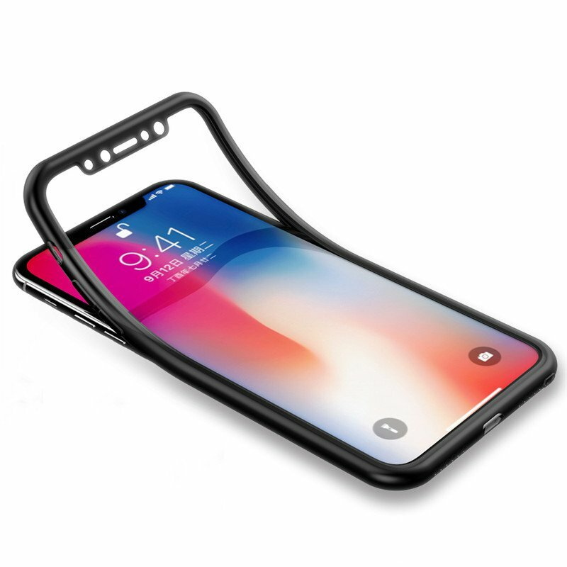Bakeey 360º Full Body Front & Back Silicone Protective Case With Tempered Glass Film For iPhone X COD