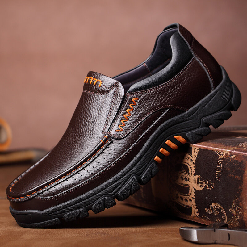 Men Genuine Cow Leather Waterproof Comfy Non Slip Soft Slip On Casual Oxfords