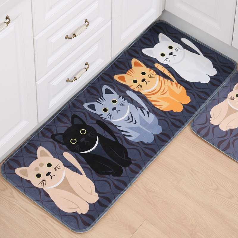 honana wx-47 kawaii floor mats animal cute cat bathroom kitchen ...