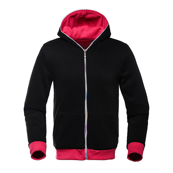 Mens Double Sided Wear Zippered Sólido Cor Casual Sport Hooded Sweatshirts