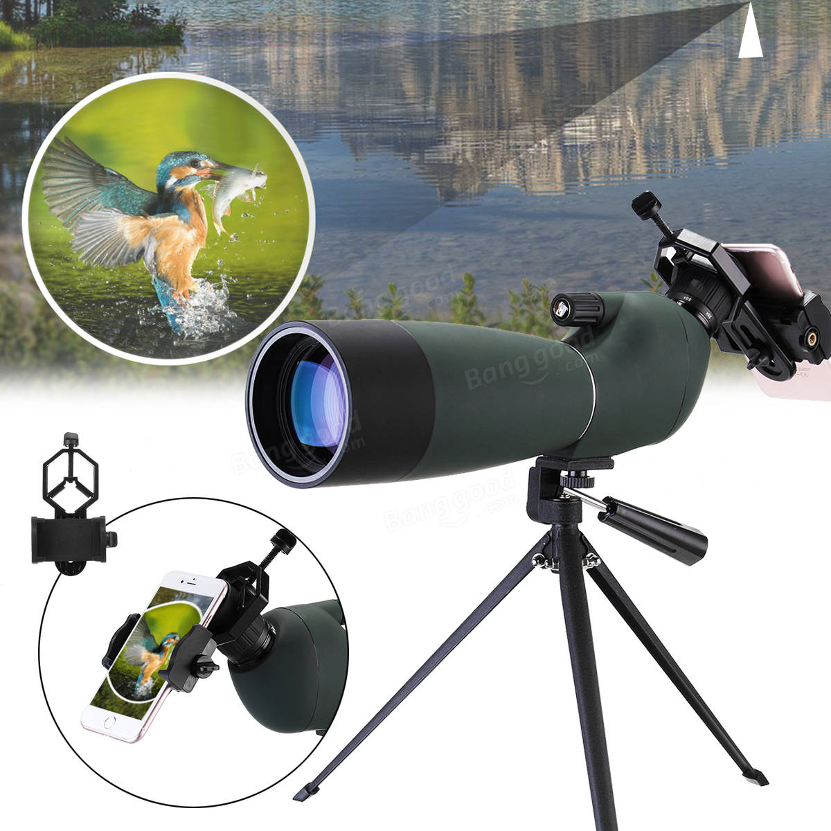 Xmund XD-TE1 25-75x70 Zoom Monocular HD BAK4 Optic Bird Watching Spotting Telescope +Tripod+Phone Holder
