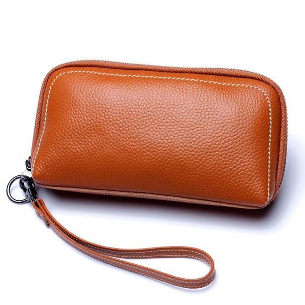 Vrouwen Originele lederen rits Long Purse Card Holder Telefoon tas past op 5,5 inch mobiele telefoons
