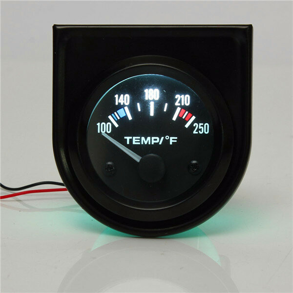 2 Inch 52mm 100-250 Degree F Car Auto Water Temperature Gauge Backlight 12V
