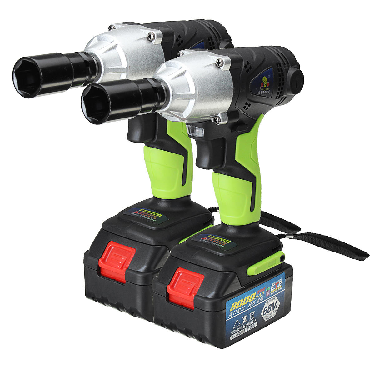 8.0Ah 68V Cordless Impact Wrench Li-ion Power Driver Drill Power Wrench Tools 1 Charger 2 Batteries