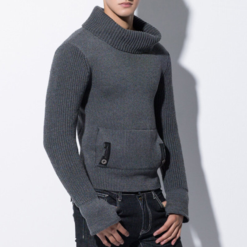 Mens Fashion High Collar Thick Warm Overhead Long Sleeve Casual Sweaters