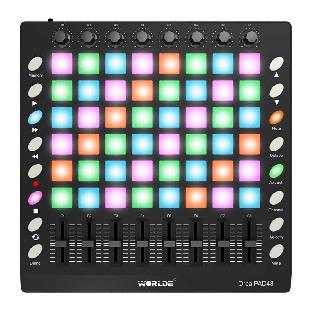 worlde orca pad48 portable midi controller 48 drum pads with usb cable sale. Black Bedroom Furniture Sets. Home Design Ideas