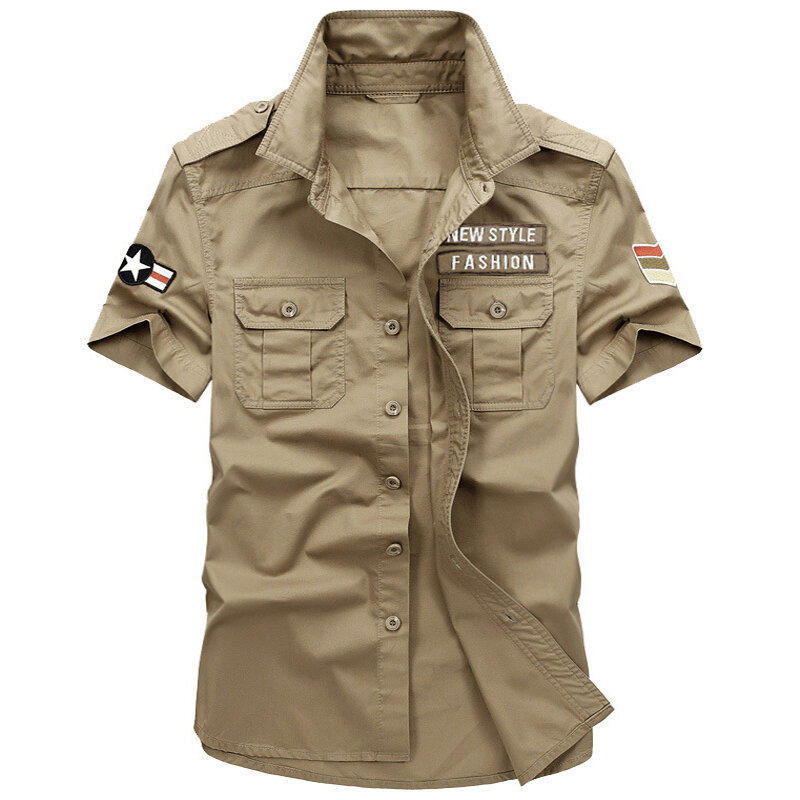 f94bc2848d1 Mens Cotton Breathable Summer Outdoor Embroidery Epaulet Armband Work Shirts  COD