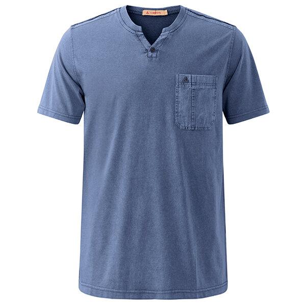 Summer Casual V Neck Comfort Cotton T-shirt Men's Fashion Chest Pocket Tops Tees