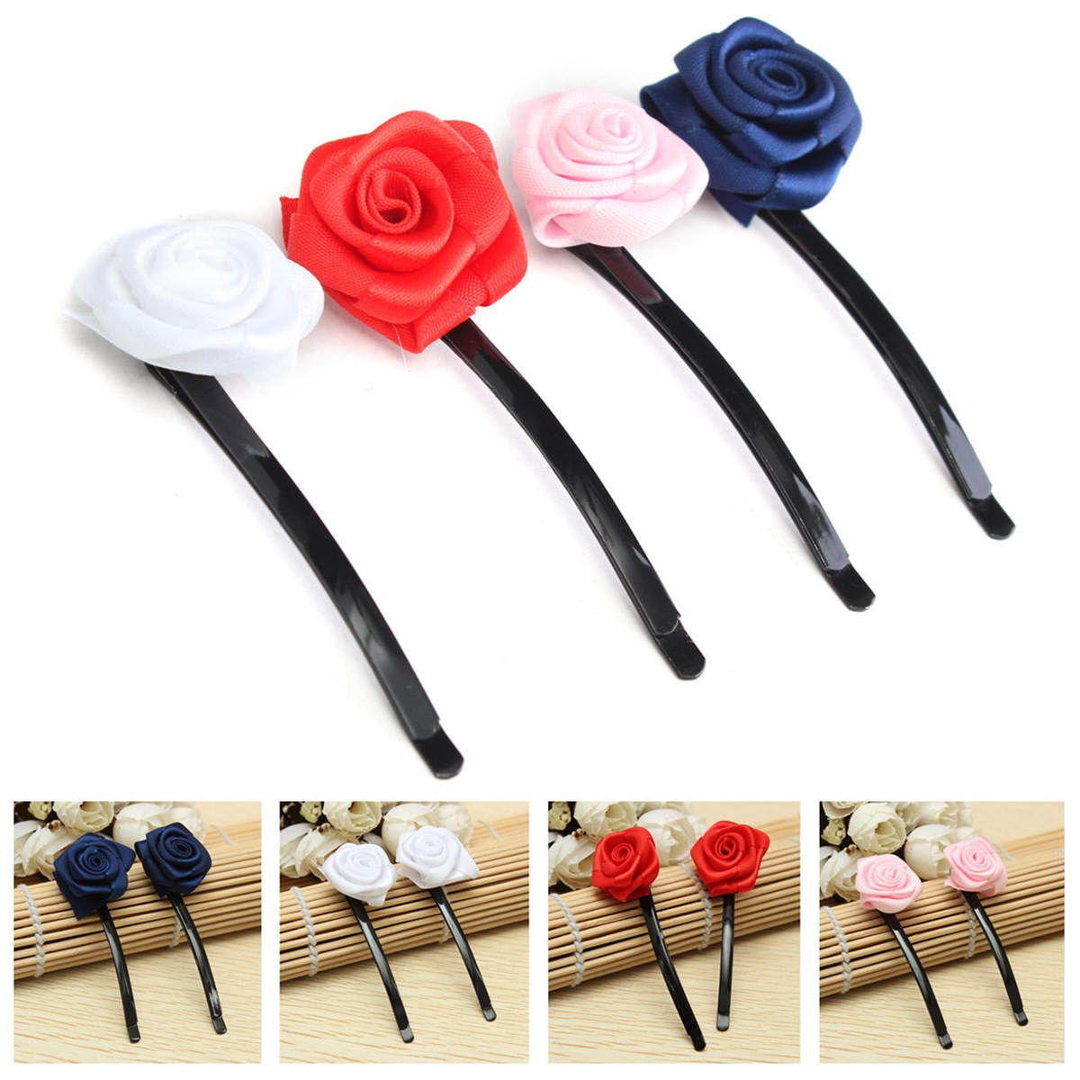 6pcs Rose Flowers Hair Pins Grips Clips Accessories for Wedding Party