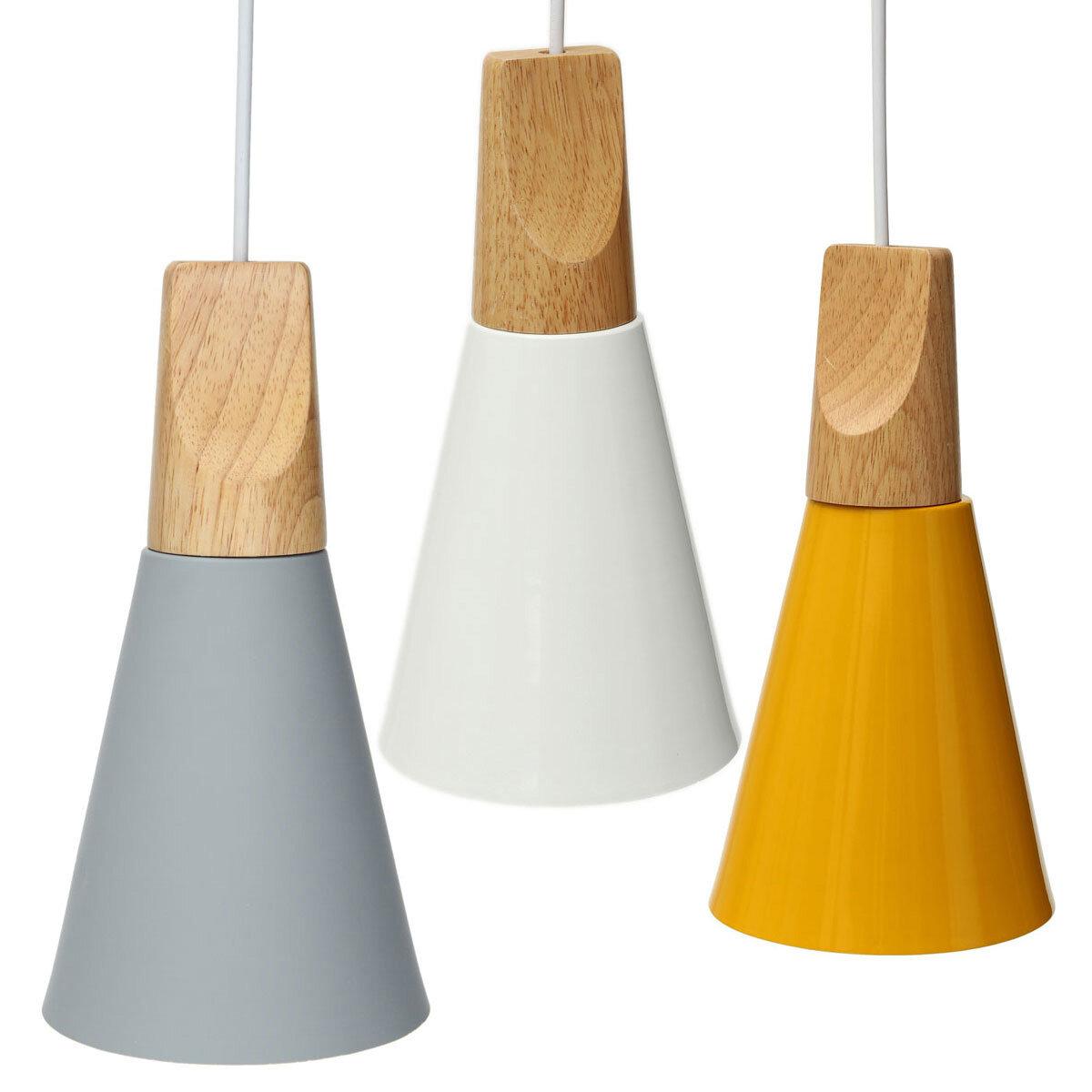 Vintage Wooden European Style Lampshade Pendant Lamp Aluminum Ceiling Light Shades Cod