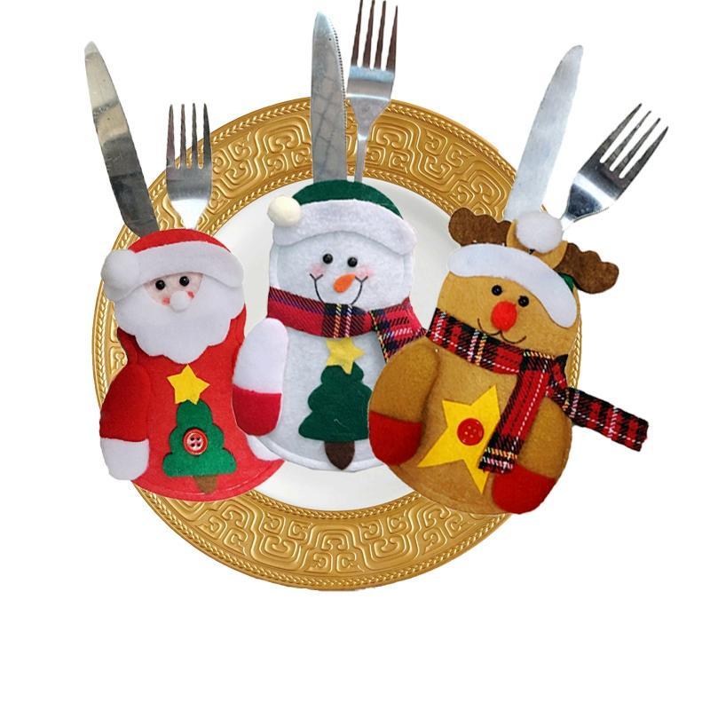 크리스마스 식기 나이프 포크 홀더 산타 옷 스타일 포크 가방 커버 양복 크리스마스 축제