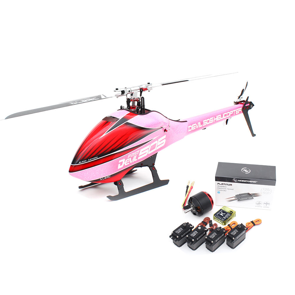 ALZRC Devil 505 Fast Kit RC Helicopter Super Combo With 120A V4 ESC Pink Version