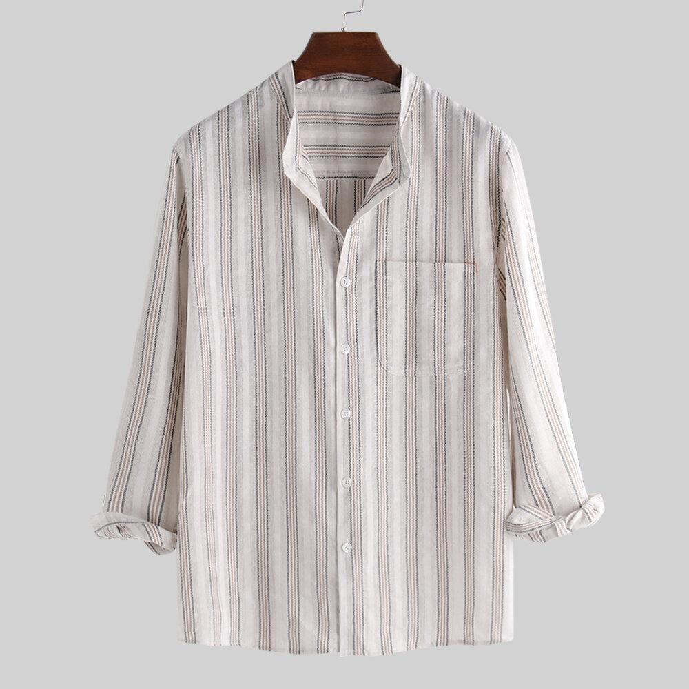 Hombres 100% algodón vendimia Collar a rayas de manga larga, manga larga, camisas informales