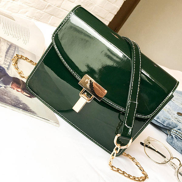 Women Patent Leather Lock Chain Korean Version Crossbody Bag Messenger Bag