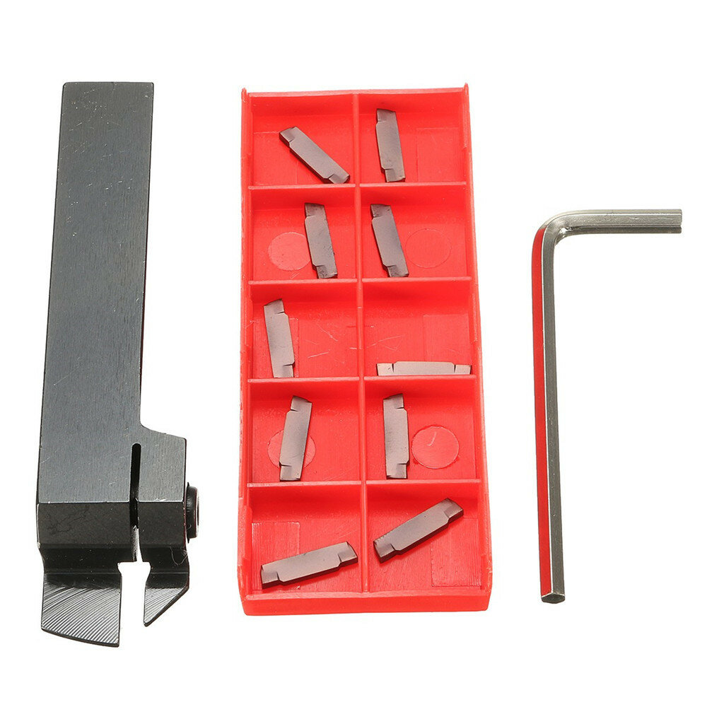 Drillpro MGEHR1616 Parting Off Turning Tool Holder with 10pcs MGMN200 Carbide Inserts Lathe Tools
