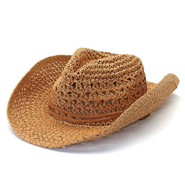 Mens Fedora Straw Hollow Out Cowboy Hatt Sommar Andasbar Wide Brim Jazz Cap