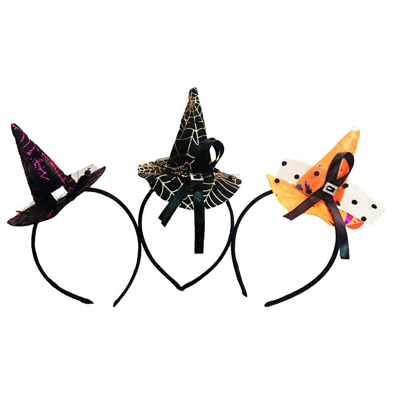 Halloween Party Properties Hair Band Witch Pointy Cap Hat Orange Black Gold Rose Hair Accessories