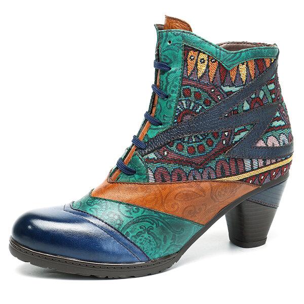 SOCOFY البوهيمي الربط نمط كتلة زيبر الكاحل الأحذية الجلدية الأحذية