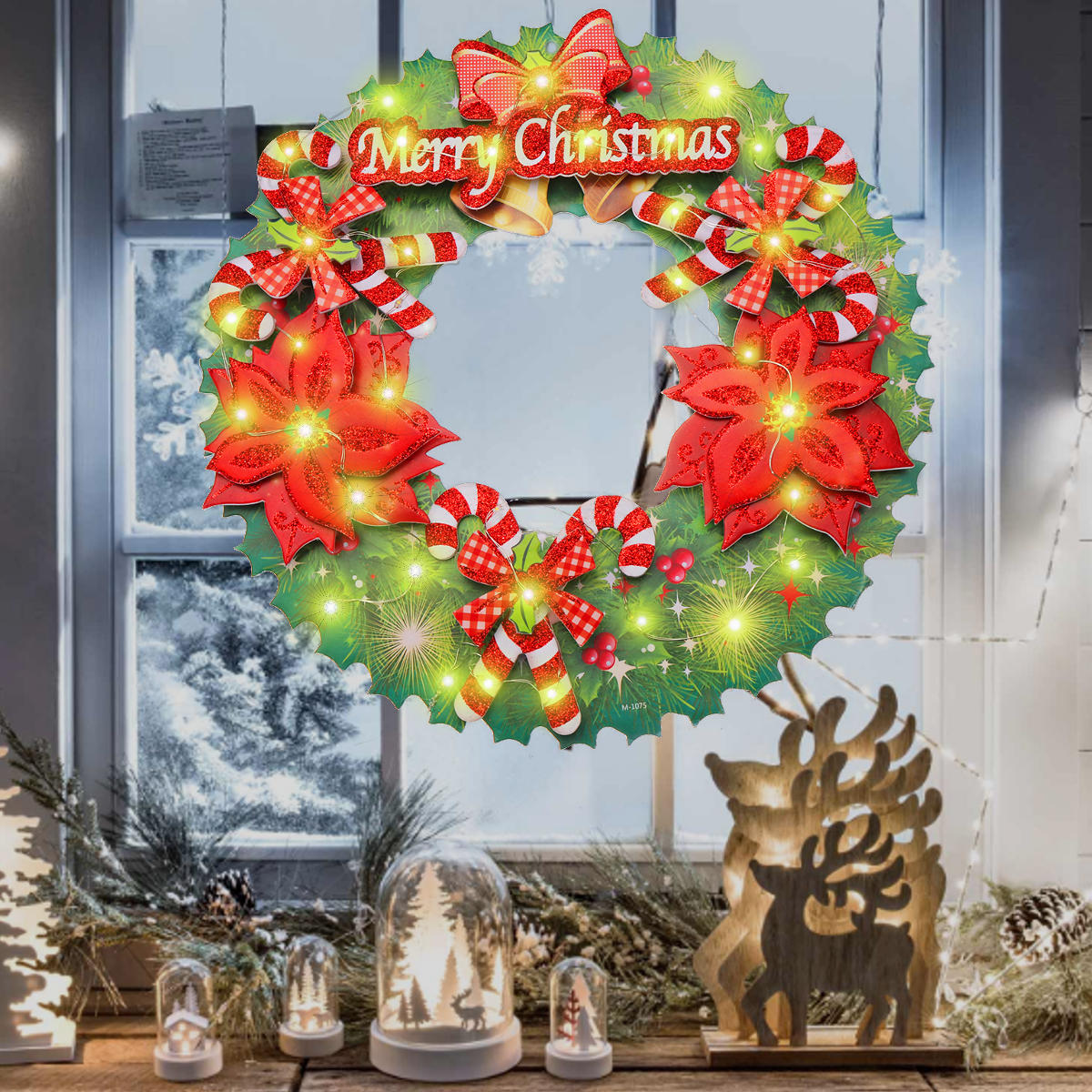 Battery Led Light Up Wreath Hanging Ornaments Christmas Home Party Decor Holiday String Cod