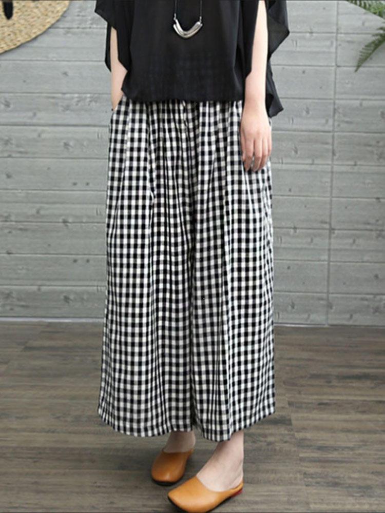 Women Vintage Elastic Waist Plaid Wide Leg Pants