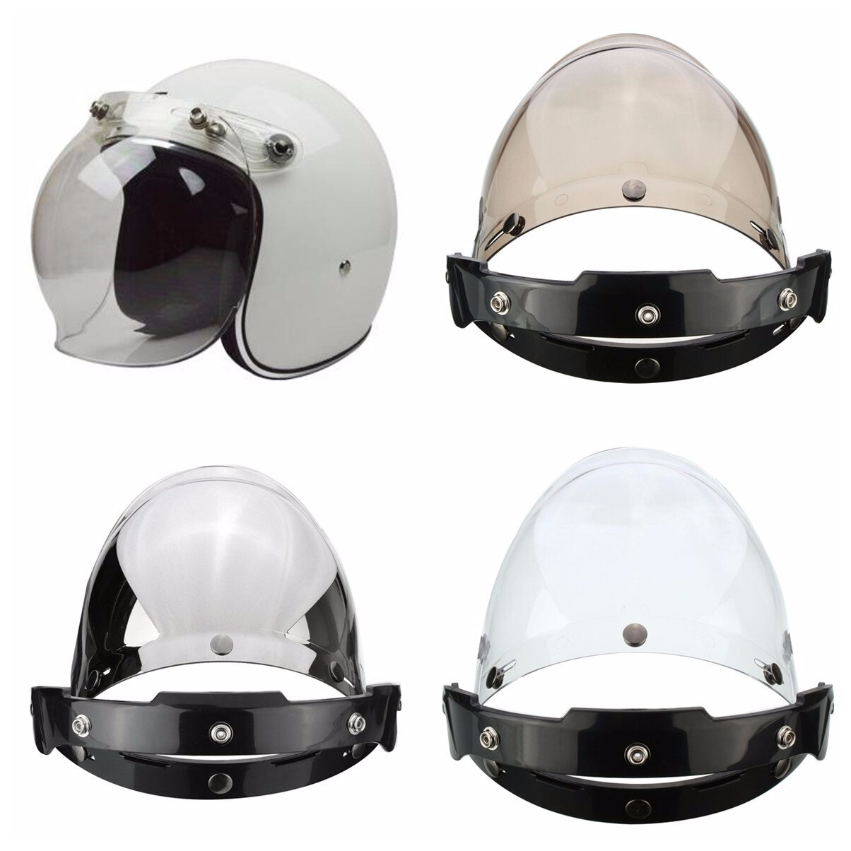 b7b8aa05 3-Snap Button Bubble Visor Flip Up Wind Face Shield Lens for Motorcycle  Helmet 3 Color - Transparent COD