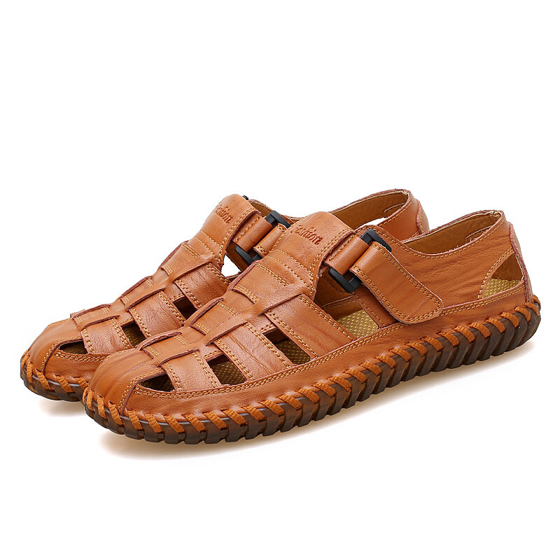 Hombres Piel Genuina Soft Casual Transpirable Hollow Out Sandalias