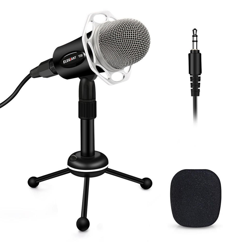 ELEGIANT 3.5mm Condenser Microphone Home Studio Portable Microphone for PC Computer Phone