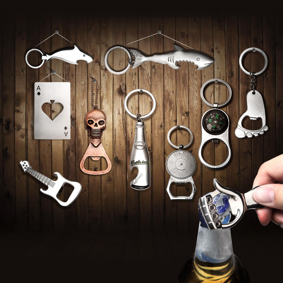 KCASA KC-SCO2 Multi-shape Creative Stainless Steel Beer Bottle Opener Portable Mini Key Chain Ring
