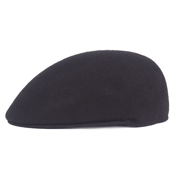 e6b7e65eaee Mens Solid Wool Warm Beret Cap Casual Sport Golf Forward Cabbie Hat COD