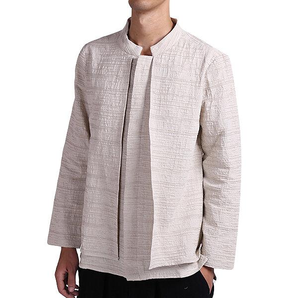 vendimia camisas de manga larga de lino de algodón de estilo casual suelta primavera suelta para hombres