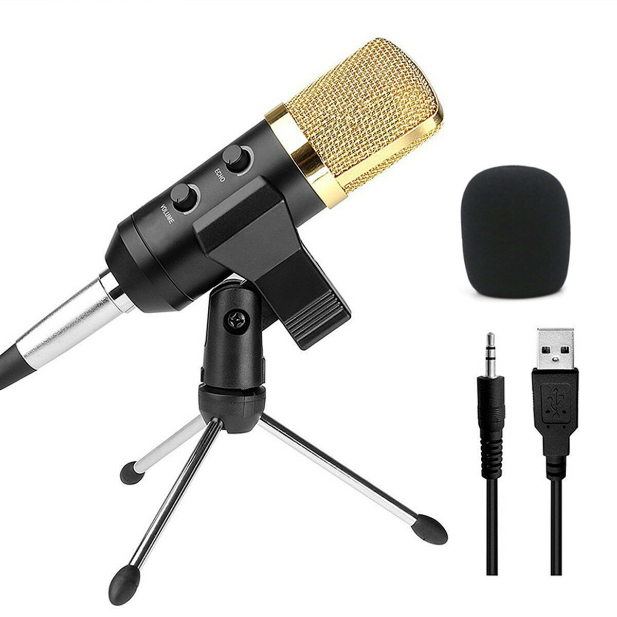 Audio Dynamic USB Condenser Grabación de sonido Vocal Micrófono Mic con soporte de montaje