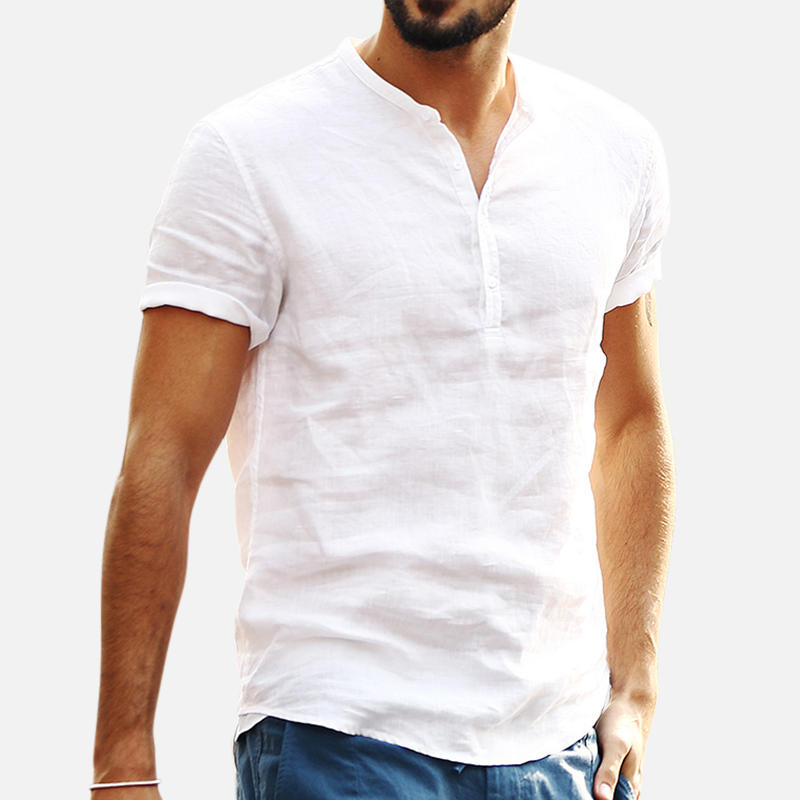 Mens Summer Breathable Cotton Short Sleeve Solid Color Casual T-shirts