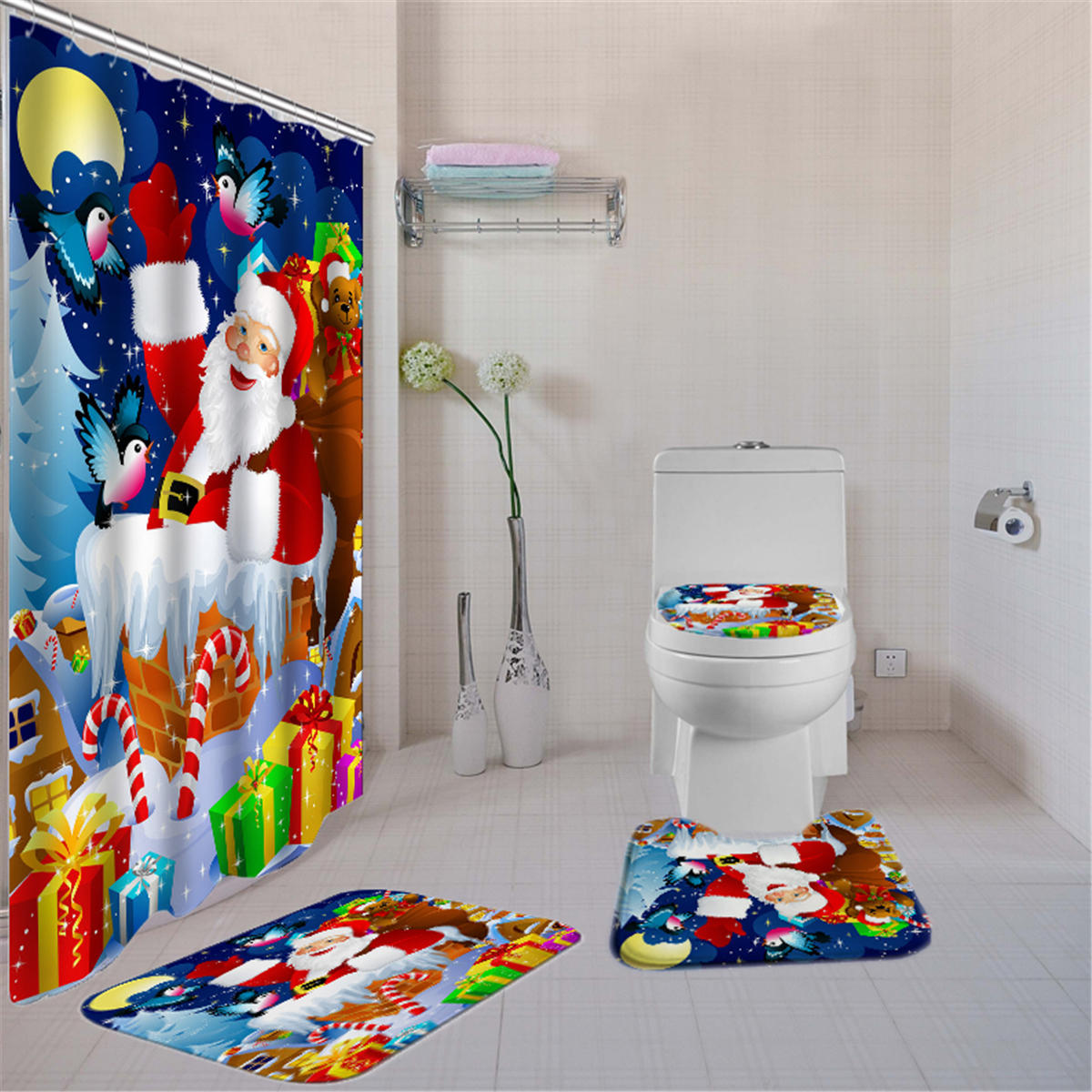180X180 Santa Claus Christmas Gifts Shower Curtain With Hooks Waterproof Bathroom Carpet Set COD