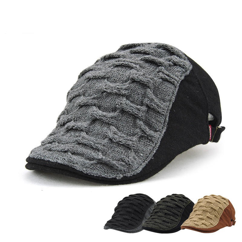 Unisex Acrylic Knitted Beret Hat Buckle Paper Boy Weaving Cabbie Gentleman Visor Cap For Men Women