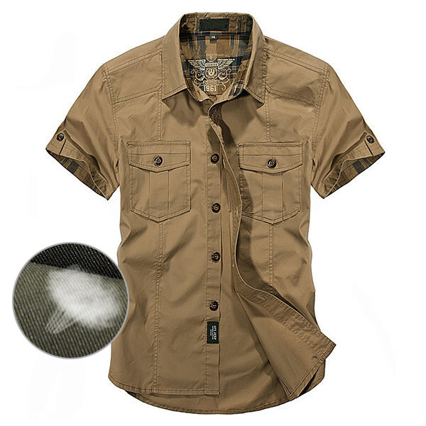 55dcd2b120c8 Outdoor Cotton Breathable Multi Pockets Cargo Short Sleeve Work Shirts for  Men COD
