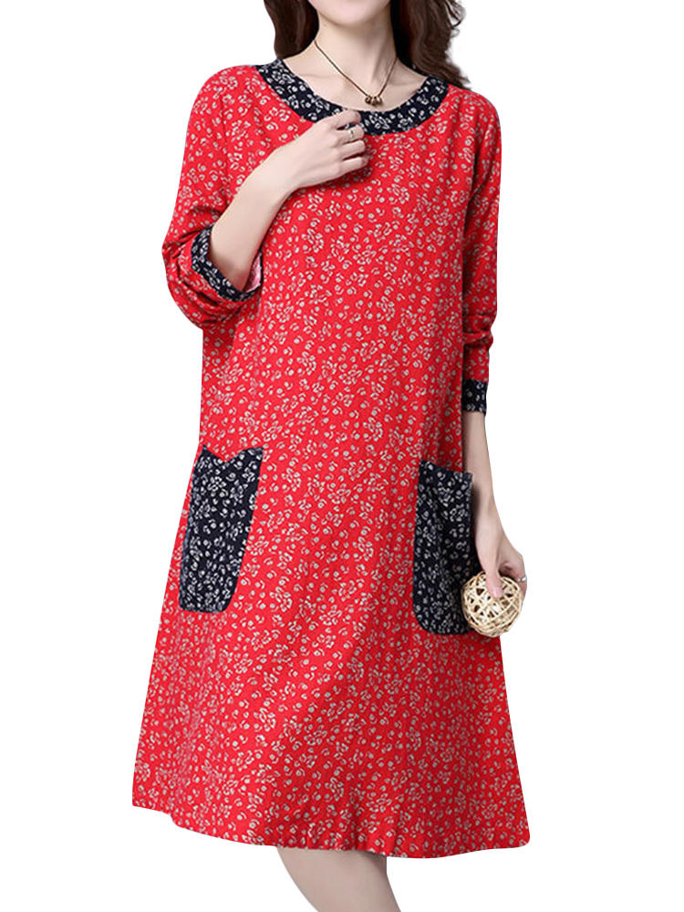 M-5XL Casual Lady Flower Print Патч Платье