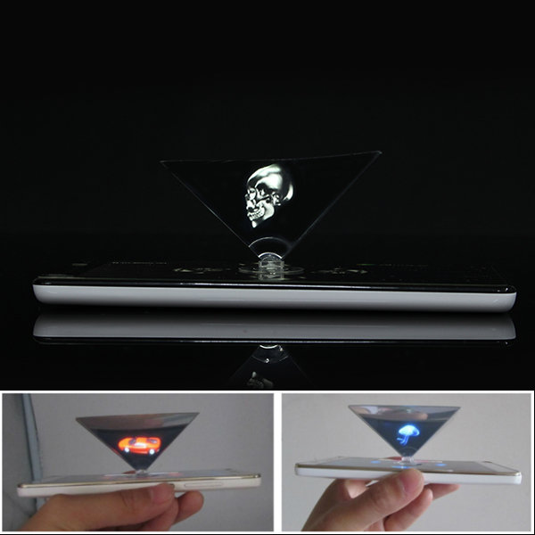 3D Holographic Projection Auxiliary Tool Pyramid DIY Creative Gifts For 3.5 to 6.0 Inches Smartphone