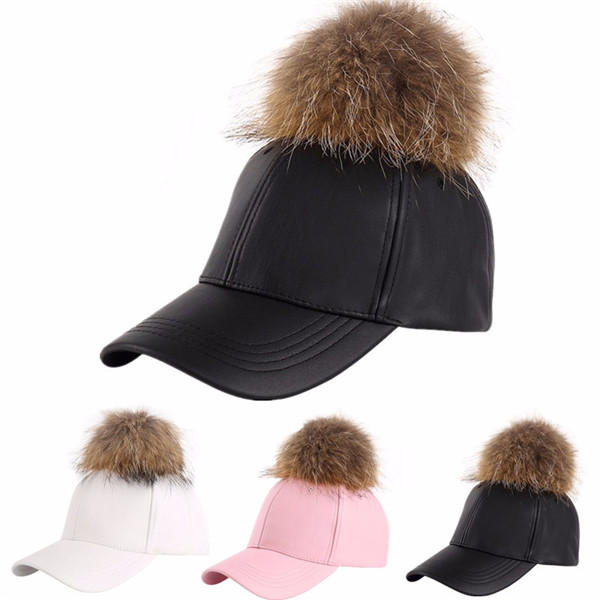 53d79dd8c08 women ladies faux artificial fur hat pom pom ball pu hat mens baseball cap  at Banggood sold out
