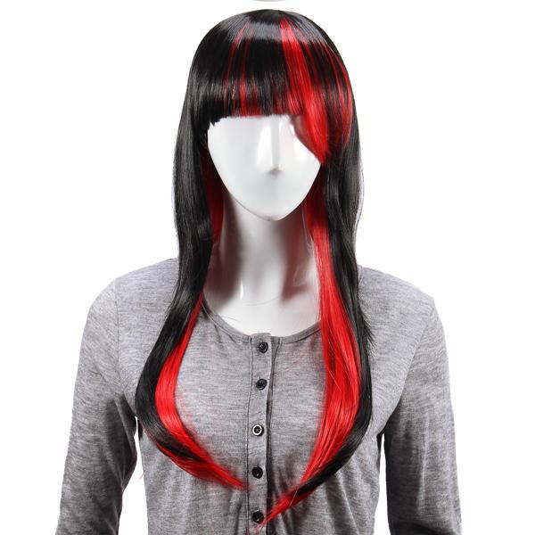 ภาพเคลื่อนไหวสีแดงเข้มชั้น วิก ผมสังเคราะห์ผมยาวตรงผู้หญิง วิกs คอสเพลย์ปาร์ตี้ 70cm