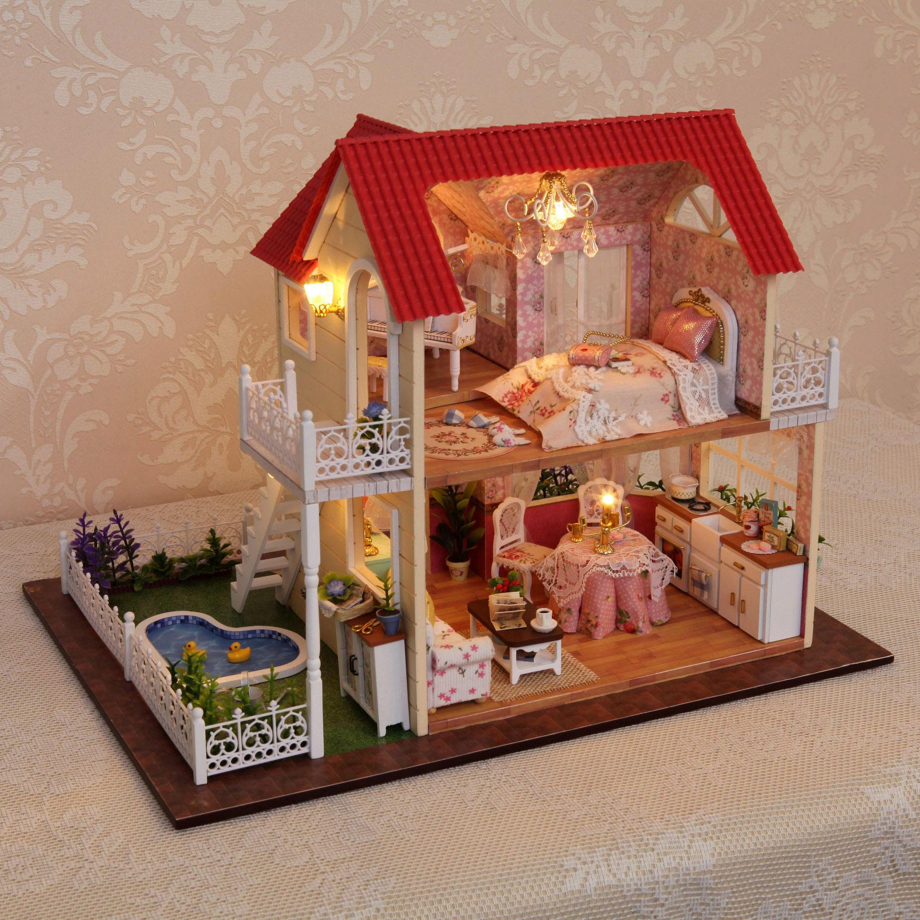 Cuteroom bricolaje casa de muñecas de madera hechos a mano regalo de las decoraciones de la habitación de la princesa cumpleaños