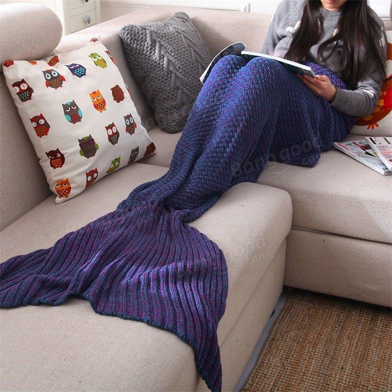 İplik Örme Denizkızı Kuyruğu Örtüsü El Halatlı Kroşe Süper Yumuşak Koltuk Yatağı Mat Uyuma Çanta